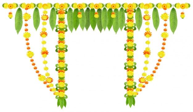 Guirlande pour porte de feuilles de mangue et de fleurs de souci. ugadi ou gudi padwa nouvel an lunaire indien Vecteur Premium