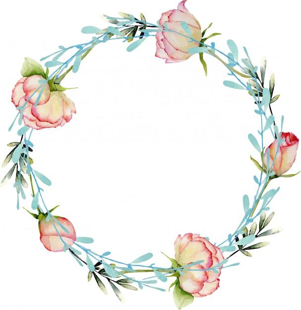 Guirlande De Roses Et De Branches Bleues Vecteur Premium