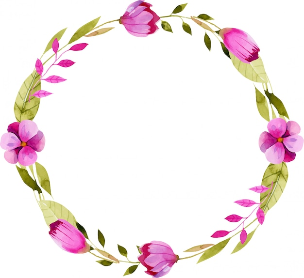 Guirlande avec simples fleurs roses aquarelles Vecteur Premium