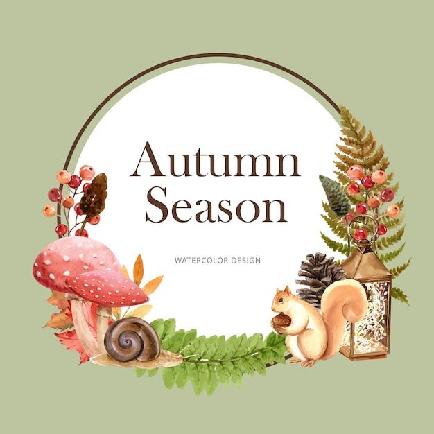 Guirlande avec thème automne Vecteur gratuit