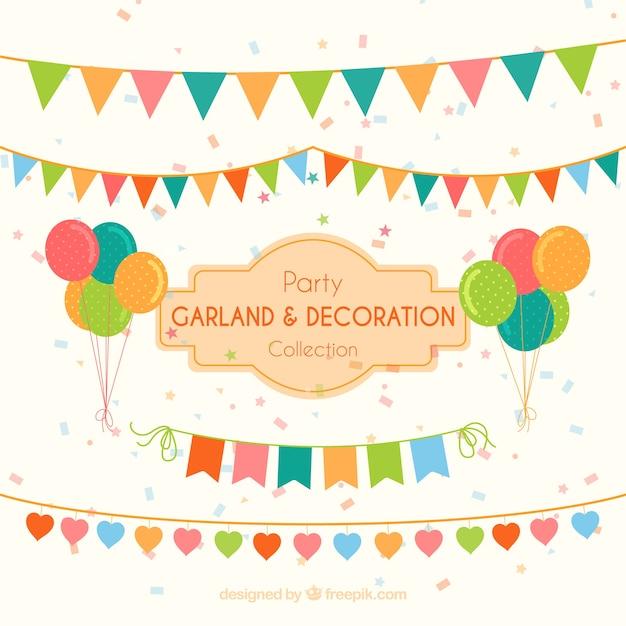 Guirlandes et des ballons pour décorer Vecteur gratuit