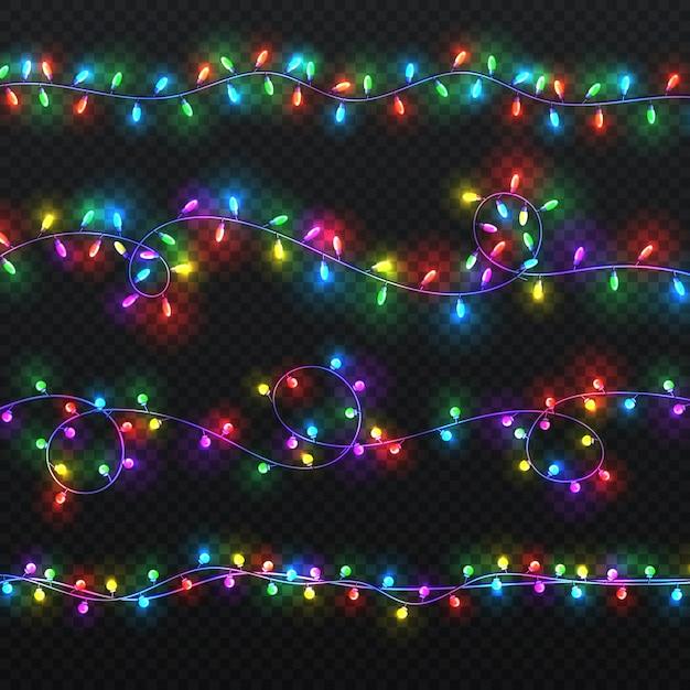 Guirlandes de lumière de noël. décoration de vecteur de noël avec des ampoules colorées isolées. illustration colorée de guirlande de noël lumineux Vecteur Premium