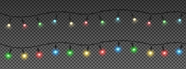 Guirlandes De Noël, Lampes Colorées. Vecteur Premium