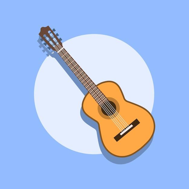 Guitare Acoustique Classique. Guitare Classique Silhouette Isolée. Collection D'instruments à Cordes Musicales. Illustration Eps 8 Dans Un Style Plat. Pour Votre Design Et Votre Entreprise. Vecteur Premium