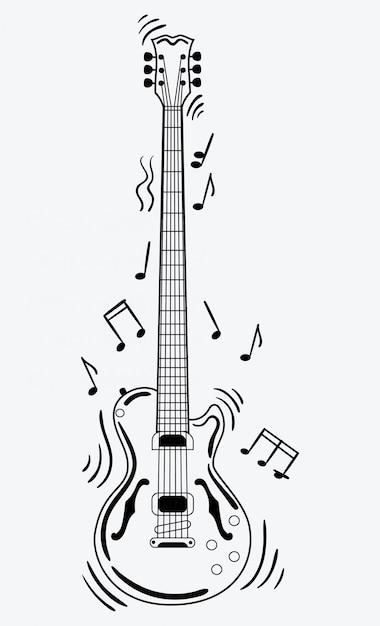 La Guitare électrique Fait Un Son. Guitare Noir Et Blanc Avec Des Notes. Instrument De Musique. Vecteur Premium