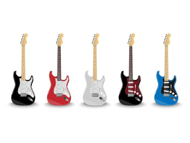Guitare électrique Réaliste Dans Différentes Couleurs Isolé Sur Fond Blanc Vecteur Premium