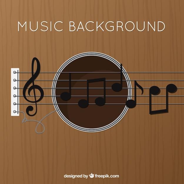 Guitare fond avec clé de sol et de notes de musique Vecteur gratuit