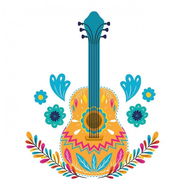 Guitare mexicaine sur blanc Vecteur Premium