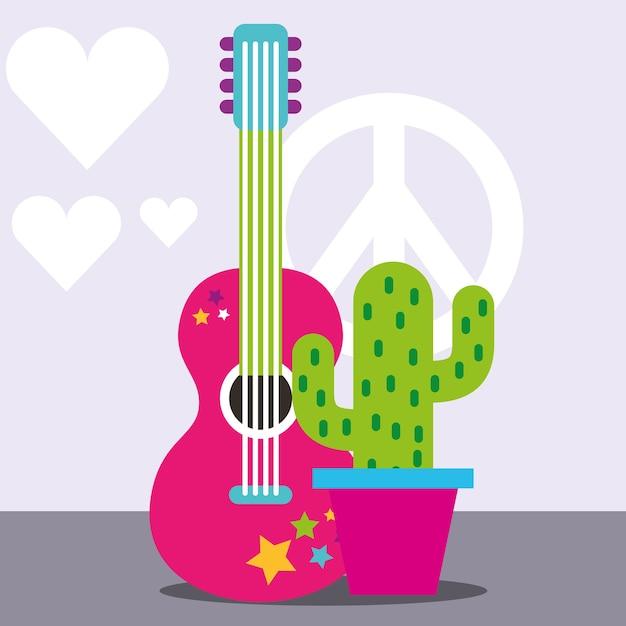 Guitare musicale en pot cactus paix et amour esprit libre Vecteur Premium