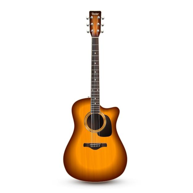 Guitare Réaliste Isolé Vecteur gratuit