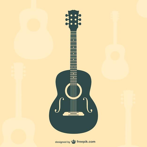 Guitare silhouette vecteur plat Vecteur gratuit