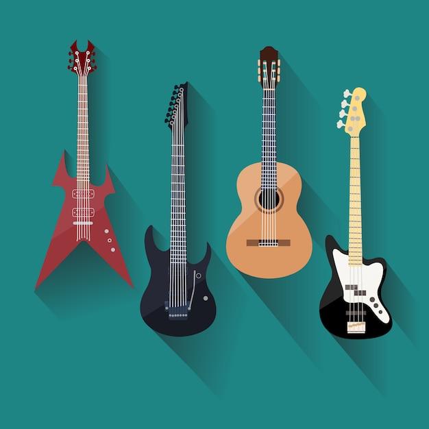 Guitares Acoustiques Et électriques Dans Un Style Plat Vecteur Premium