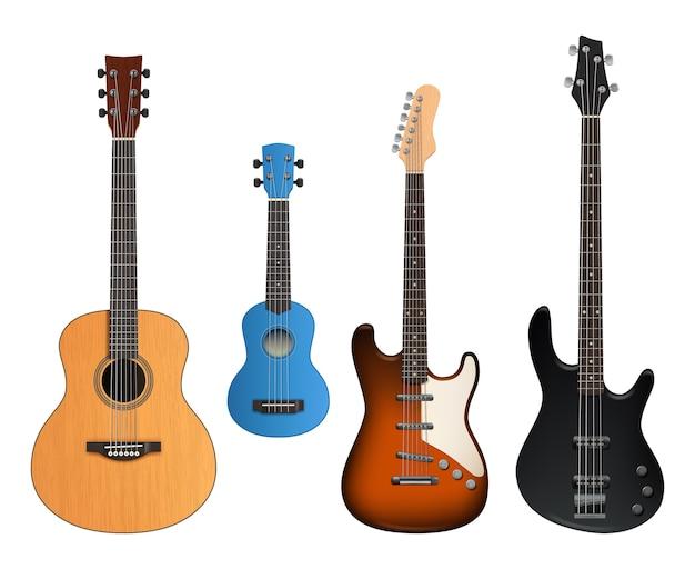 Les Guitares. Instruments De Musique Réalistes Sonores Faisant Des Articles Rock Et Collection De Guitares Acoustiques. Vecteur Premium