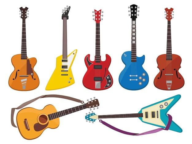 Les Guitares. Le Son De La Musique Joue Des Instruments Classiques De La Collection De Guitares Acoustiques Et Rock. Vecteur Premium