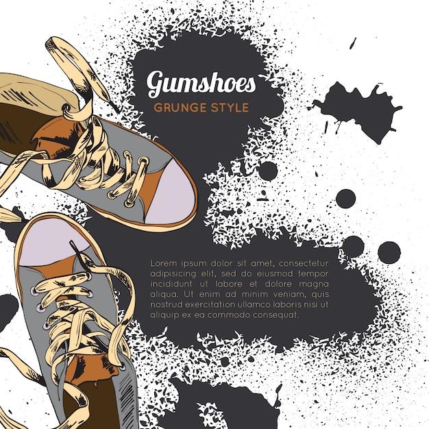 Gumshoes croquis grunge Vecteur gratuit