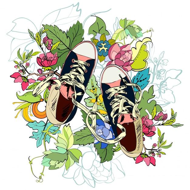 Gumshoes esquisse de fleur Vecteur gratuit