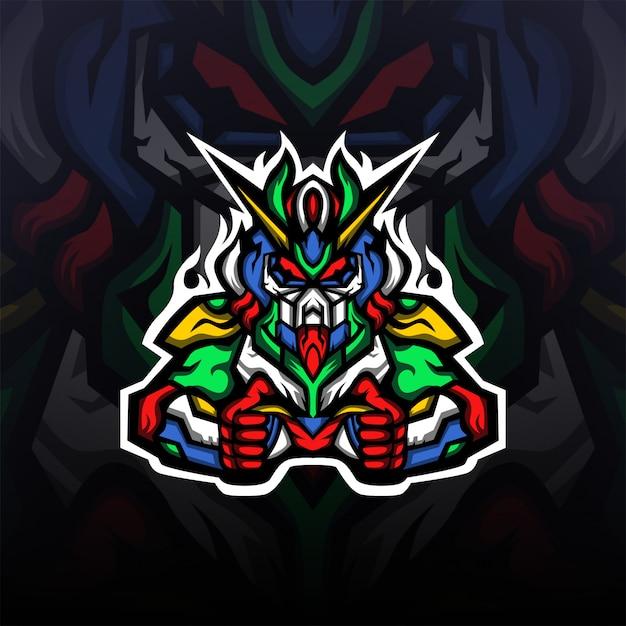 Gundam Robot Gaming Mascot Logo Esport Vecteur Premium