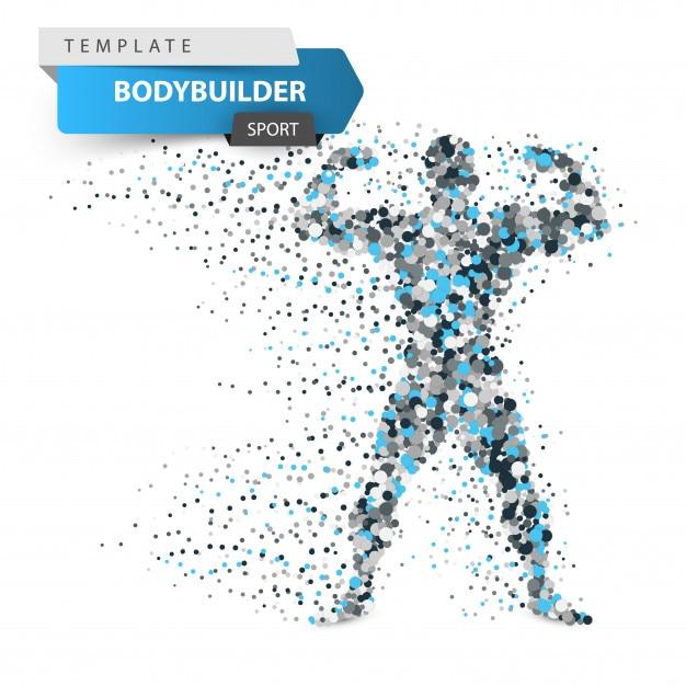 Gym, bodybuilder - illustration de points de dessin animé. Vecteur Premium