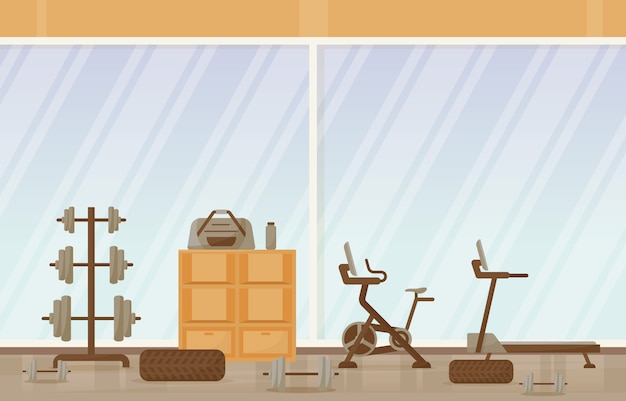 Gym Center Interior Sport Club Fitness Weight Bodybuilding Equipment Illustration Vecteur Premium