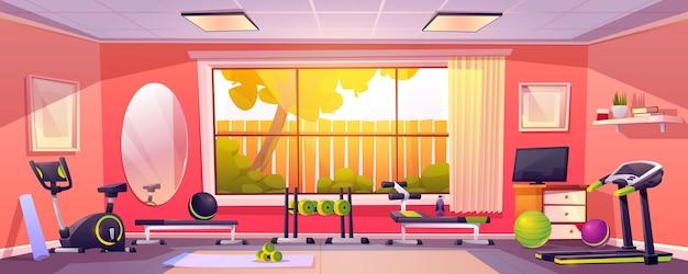 Gym à Domicile, Salle Vide Avec équipement Sportif Vecteur gratuit