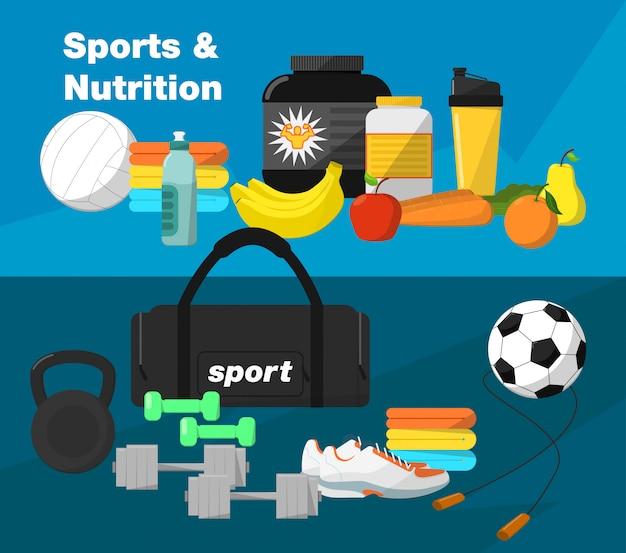 Gym et équipement de fitness Vecteur Premium
