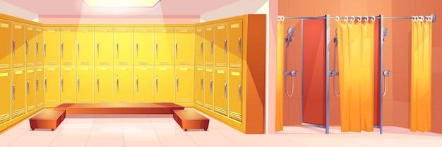 Gymnase moderne ou sport club fond de vecteur pour le dessin animé intérieur vestiaire confortable Vecteur gratuit