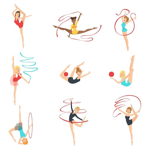 Gymnastes Rythmiques S'entraînant Avec Différents Appareils Vecteur Premium
