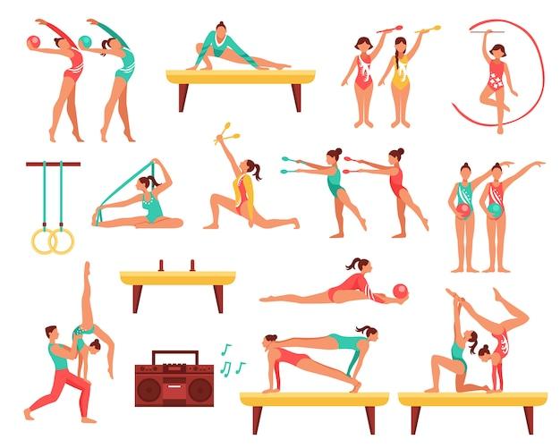 Gymnastique et actobatics set d'icônes décoratifs Vecteur gratuit