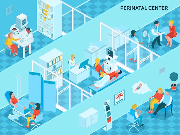 Gynécologie Et Grossesse Avec Symboles Du Centre Périnatal Isométrique Vecteur gratuit