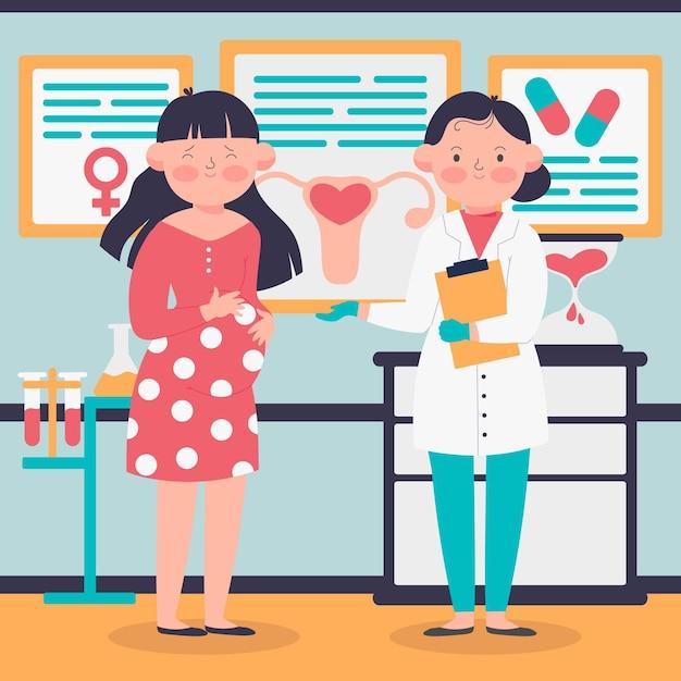 Gynécologue Et Femme Enceinte Illustrée Vecteur gratuit