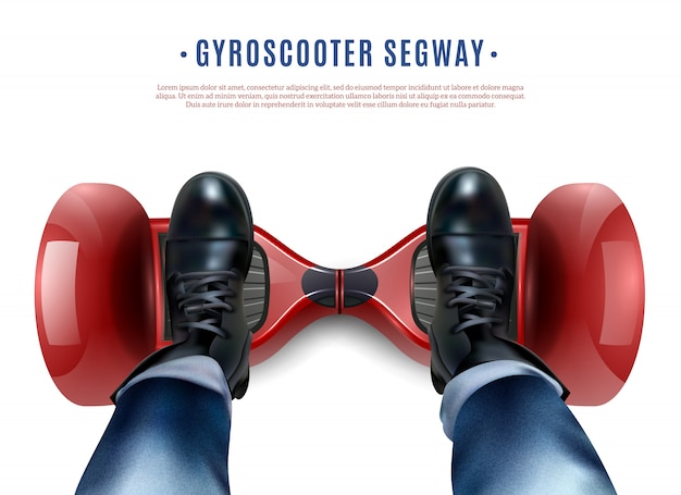 Gyro scooter feet realistic top view Vecteur gratuit