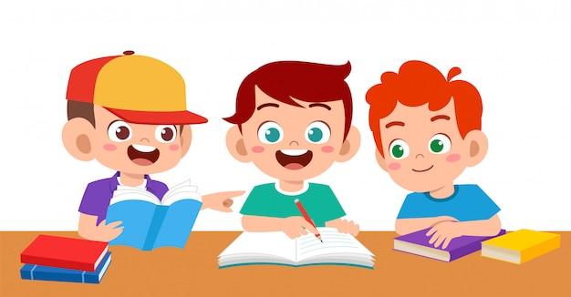 Haapy Mignon Enfants Garçon Et Fille étude Vecteur Premium