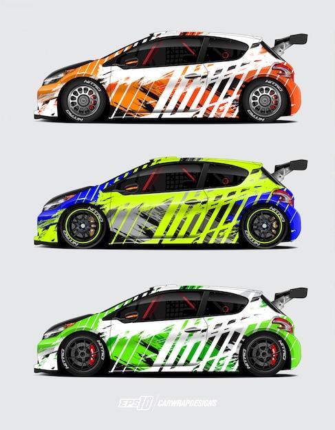 Habillage de voiture pour rallye Vecteur Premium