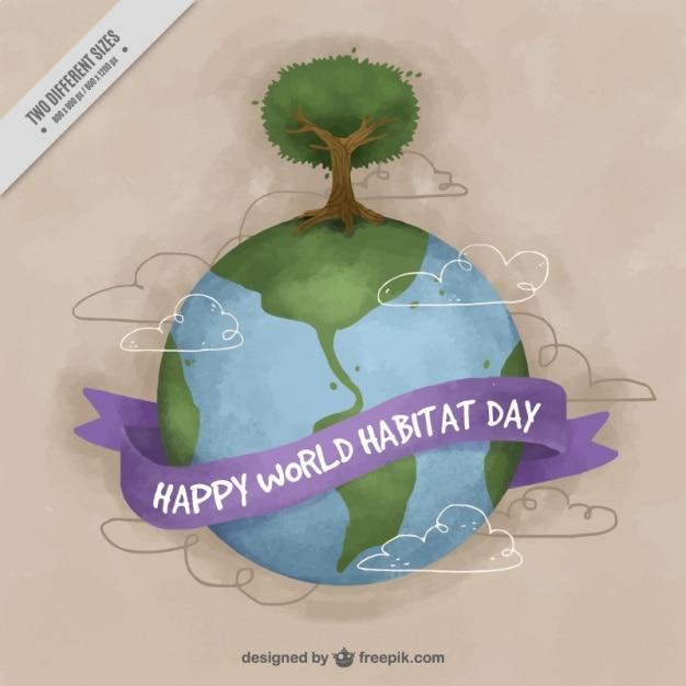 Habitat mondiale aquarelle jour fond du monde avec l 39 arbre for Habitat du monde
