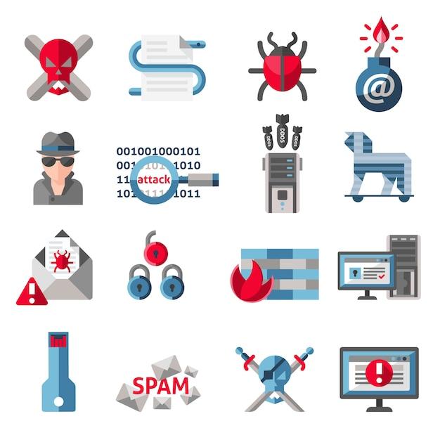 Hacker activité ordinateur et e-mail virus anti-virus icônes ensemble illustration vectorielle isolée Vecteur gratuit