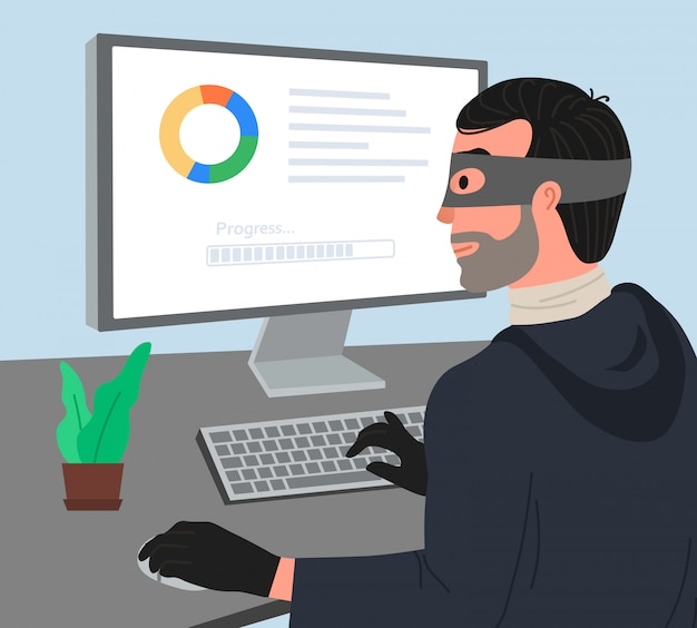 Hacker Attaque Illustartion Vecteur Premium