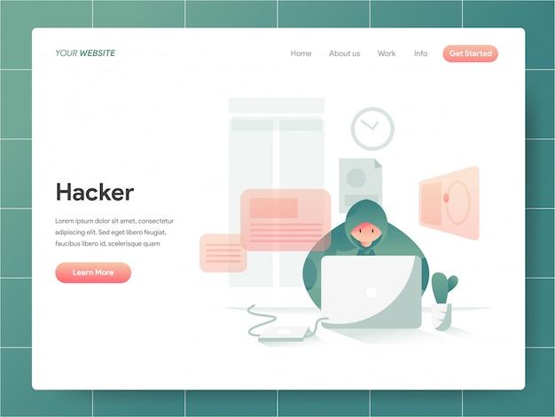 Hacker Bannière De La Page De Destination Concept Vecteur Premium