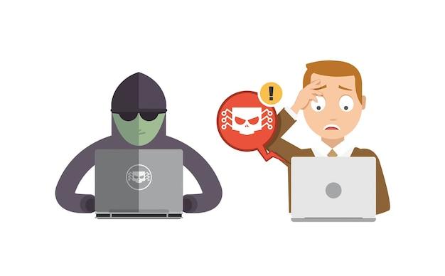 Hacker essaie de voler des données et un mot de passe sur l'ordinateur d'un gars Vecteur Premium