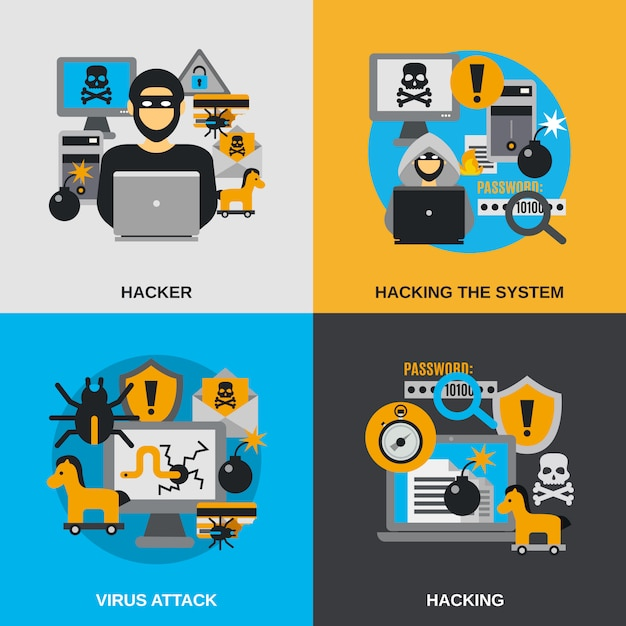 Hacker plat ensemble Vecteur gratuit