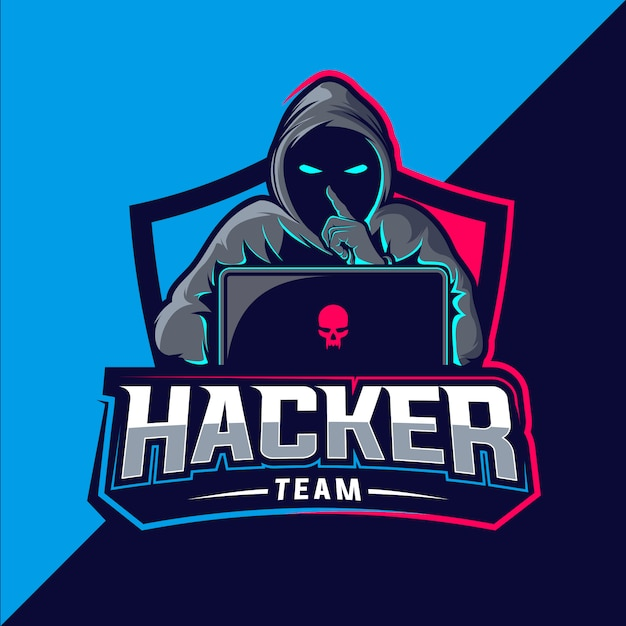Hacker Team Esport Logo Vecteur Premium