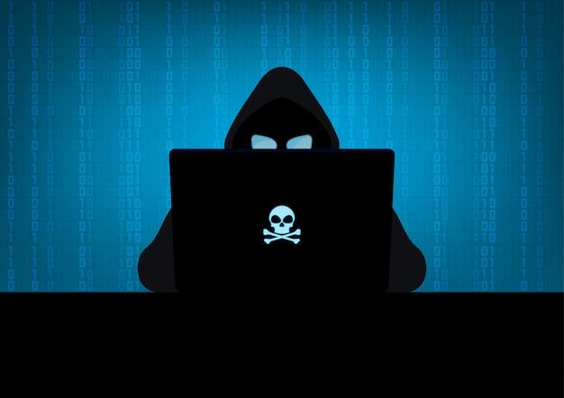 Hacker Utilisant La Silhouette De L'ordinateur Portable Avec Le Logo Du Crâne Et Des Os Croisés Sur Fond De Code Binaire Bleu Vecteur Premium