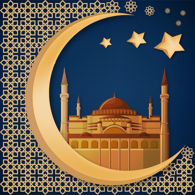 Hagia sophia, abstrait de ramadan kareem. Vecteur Premium