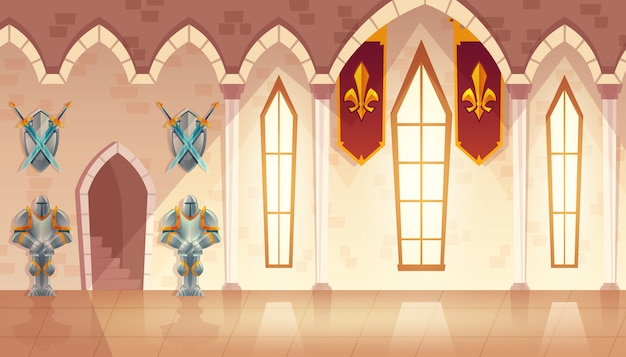 Hall du château, couloir dans un palais médiéval, salle de bal pour la danse et les réceptions royales. Vecteur gratuit