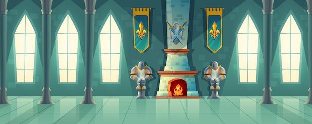 Hall du château, intérieur de la salle de bal royale avec cheminée, armure de chevalier, drapeaux pour danser. Vecteur gratuit