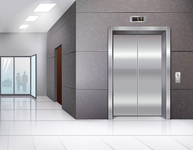 Hall de l'immeuble de bureaux avec plancher brillant et porte d'ascenseur en métal chromé Vecteur gratuit