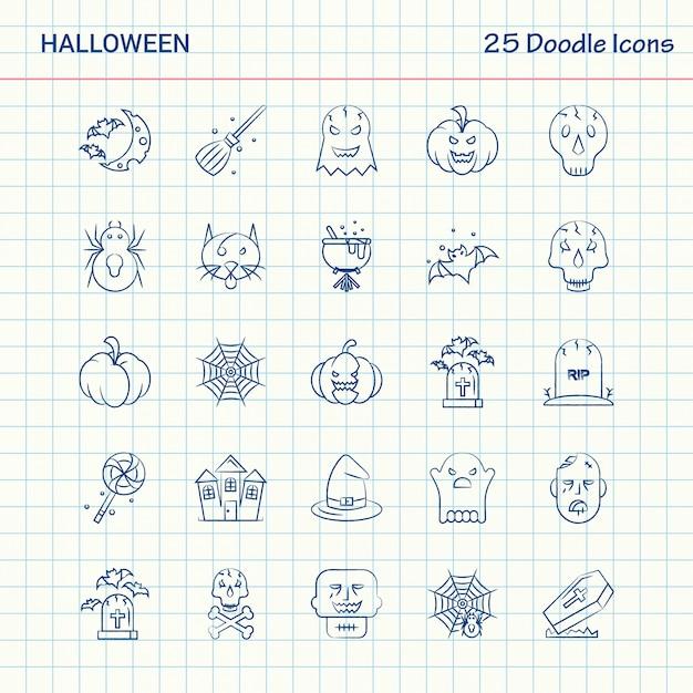 Halloween 25 icônes de doodle Vecteur gratuit