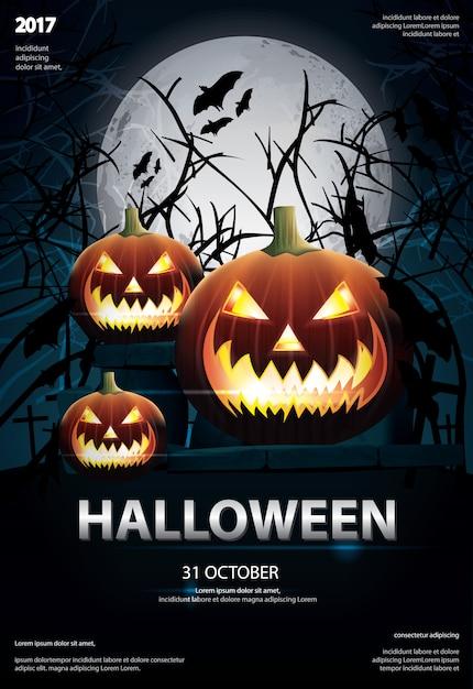 Halloween affiche un modèle de conception illustration vectorielle Vecteur Premium