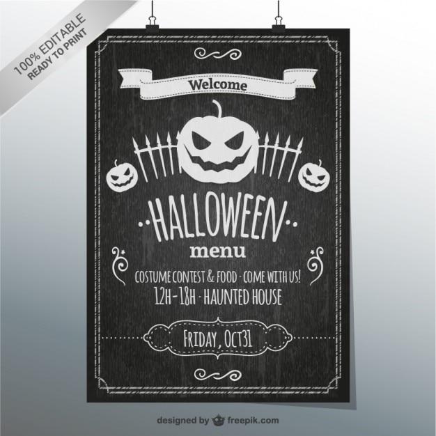 Halloween à L'ardoise Vecteur gratuit
