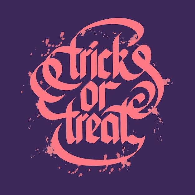 Halloween Astuce Ou Traiter Le Lettrage Typographique Avec Des Lettres Roses Vecteur gratuit