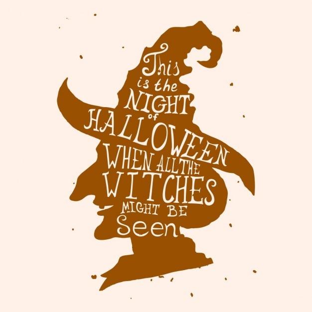 Halloween Carte Grungy Avec Sorcière Chapeau Et Devis Vecteur gratuit
